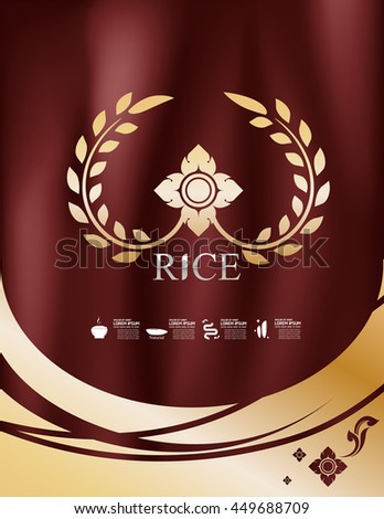 Rice Thailand food Logo Products and Fabric Background Thai Arts. - stock vector