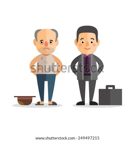 Poor people stock images royalty free images vectors shutterstock rich and poor people characters in the flat style wealth and poverty sciox Images