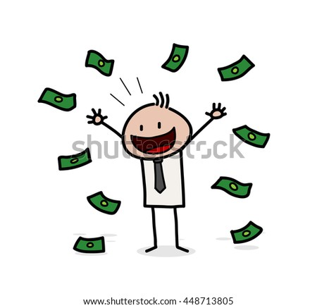 Rich and Wealthy Stick Figure Businessman, a hand drawn vector illustration of a wealthy businessman with money around him.