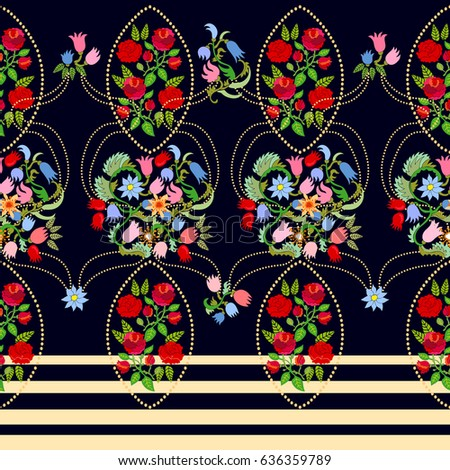 Rich damask pattern. Seamless vector border with roses and tulips on black background.
