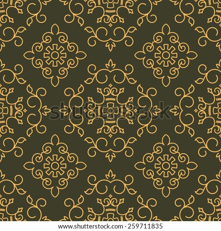 Rich decorated calligraphic outlined stroke seamless pattern in dark and gold gamma. Pattern number 3. - stock vector