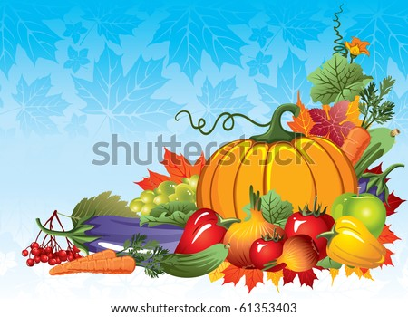 rich harvest of vegetables and fruits, vector illustration