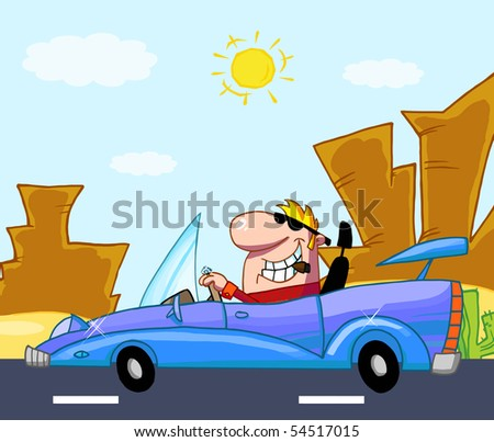 Rich Man Drives Convertible In Front Western Landscape - stock vector