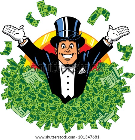 Rich wealthy happy millionaire billionaire with top hat and tuxedo surrounded by money - stock vector