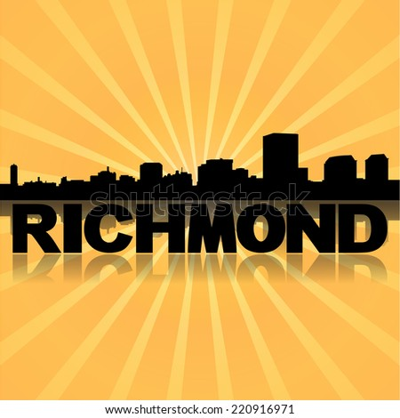 Richmond skyline reflected with sunburst vector illustration - stock vector