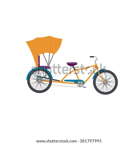 Rickshaw illustration. Rickshaw vector icon isolated. auto rickshaw tuk tuk three wheeler tricycle. - stock vector