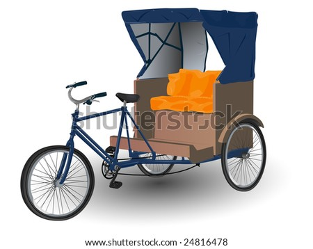 Rickshaw Pulled by Bicycle Illustration - stock vector