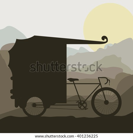 rickshaw trasnportation design  - stock vector