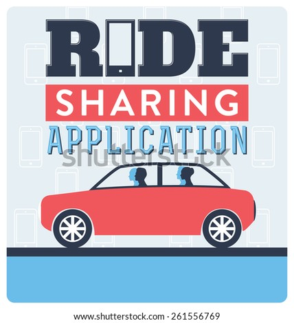 Ride Sharing Application Concept - stock vector
