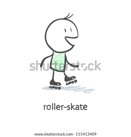 Rider on roller skates - stock vector