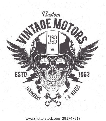 Rider skull with retro racer attributes. Grunge print. Vintage style. Vector art.  - stock vector