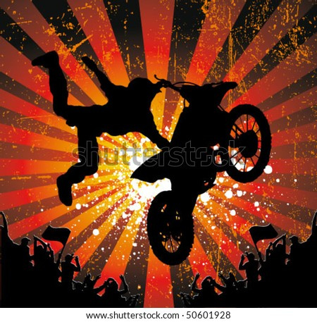 rider vector background - motorcross poster - stock vector
