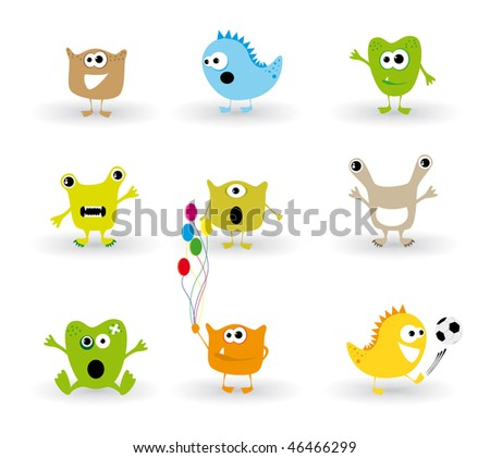 Ridiculous small monsters (cute) - stock vector