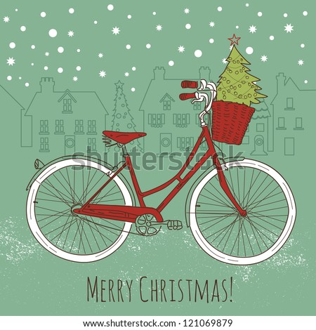 Riding a bike in style, Christmas postcard - stock vector