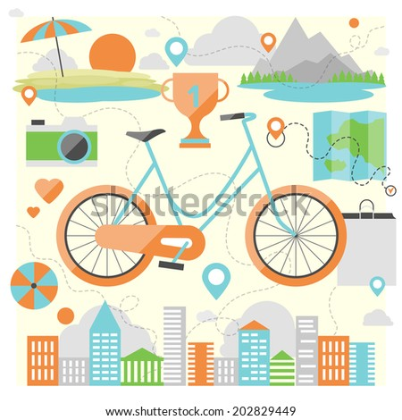 Riding a bike on a various outdoor locations, adventure and vacation travel on a bicycle, lifestyle activity with ecological transport. Flat design style modern vector illustration concept. - stock vector