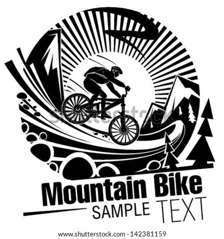 Riding a mountain bike - stock vector
