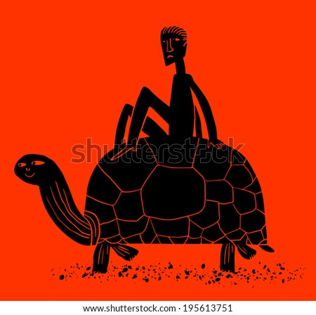 Riding giant turtle - stock vector