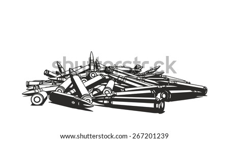 Rifle bullets over white background - stock vector