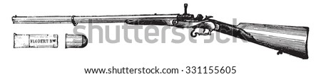 Rifle flobert movement Chassepot, vintage engraved illustration. Industrial encyclopedia E.-O. Lami - 1875. - stock vector