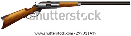 Rifle gun with wooden handle