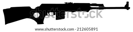 Rifle isolated on white background vector, Kalashnikov rifle ,deadly handgun, dangerous weapon, black army and hunting firearm, world war 2, anti terrorism, aggression, arm, military machine,automatic  - stock vector