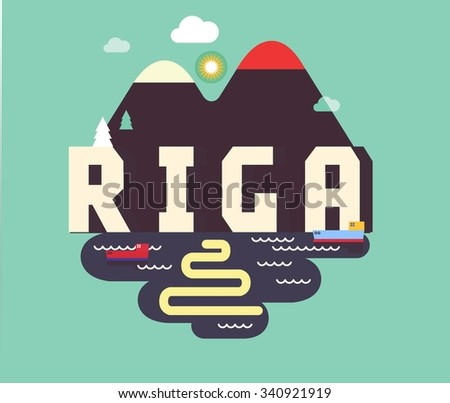 Riga in Latvia is Beautiful city to visit on holiday, vector cartoon illustration