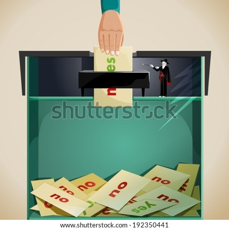 rigging election- election fraud. an idea showing election fraud,with a hand posting it's vote in a ballot box saying yes but the wizard in the box changed the majority of votes to no .  - stock vector