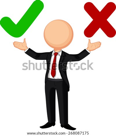 right and wrong choice - stock vector