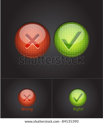 Right and wrong. Vector conceptual background - stock vector