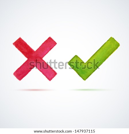Right and wrong watercolor check marks. Vector illustration. - stock vector