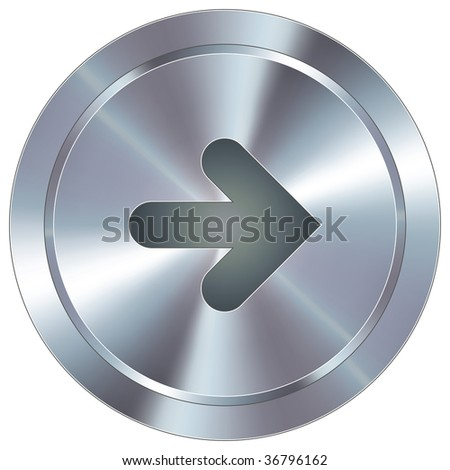 Right arrow direction icon on round stainless steel modern industrial button suitable for use as a website accent, on promotional materials, or in advertisements.