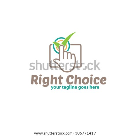Right Choice, Pointing Hand Logo Template - stock vector