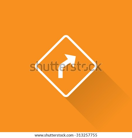 Right Curve Arrow Sign - stock vector