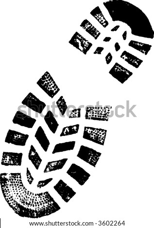 Right Foot Print (Vector image Very detailed) - stock vector