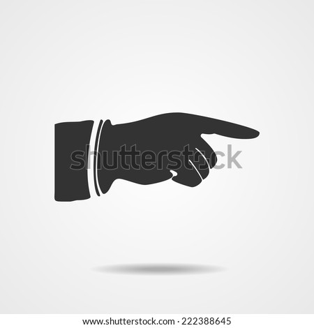 Right forefinger pointing to. Pointing hand finger. Vector illustration EPS10 - stock vector