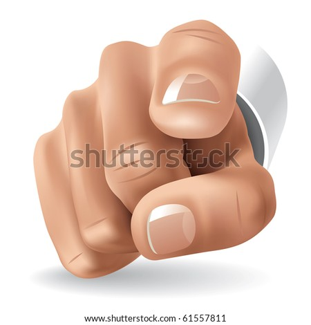 Right Hand with Forefinger Pointing on Viewer. Vector Illustration - stock vector