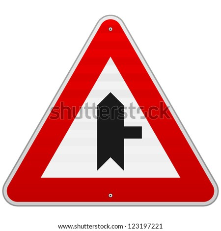 Right Junction Sign - Crossroad shape and direction triangle symbol with red border - stock vector