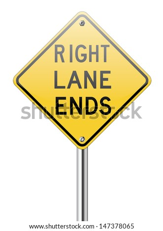 Right land ends traffic sign on white