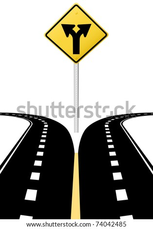 Right left arrows on highway road sign symbol of split paths decision - stock vector