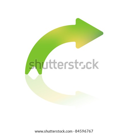 Right Turning Gradient Color Curved Arrow With Reflection - stock vector