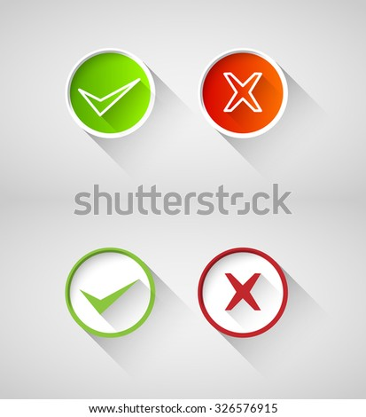 right, wrong sign symbol set - stock vector
