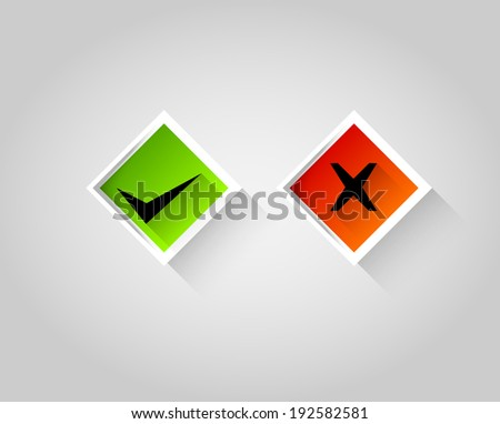 right, wrong square sign symbol set - stock vector