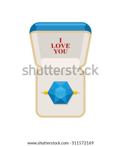 Ring in  box. Jewelry for weddings and engagements. I love you. Sapphire ring. Vector illustration for Valentines day - stock vector