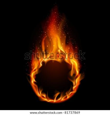 Ring of Fire. Illustration on black background for design - stock vector
