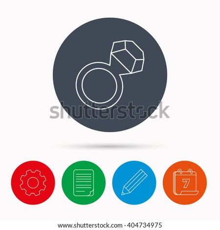 Ring with diamond icon. Jewellery sign. Calendar, cogwheel, document file and pencil icons. - stock vector