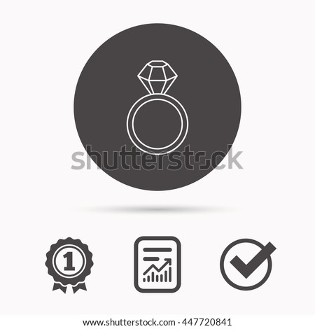 Ring with diamond icon. Jewellery sign. Report document, winner award and tick. Round circle button with icon. Vector - stock vector