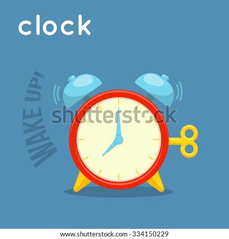 Ringing alarm clock. Cartoon simple illustration. Vector object and word.  - stock vector