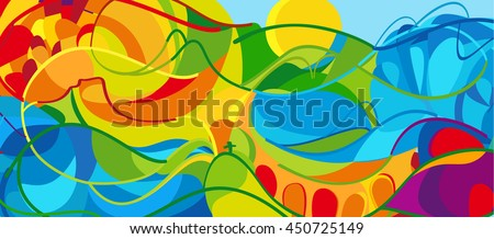 Rio. 2016 abstract colorful background. Rio de Janeiro 2016 Brazil wallpaper. Summer Athletic Sport Brazil colorful pattern. Vector illustration for Art, Print, web design, advertising. - stock vector