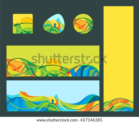 Rio 2016 - banners and buttons set, vector template for web, print. - stock vector