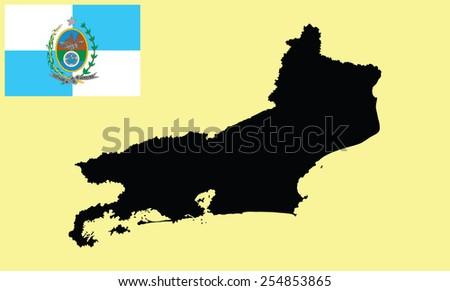 Rio De Janeiro, Brazil, vector map isolated on background. High detailed silhouette illustration. Rio de Janeiro State Flag, original and simple Rio De Janeiro flag isolated vector in official color - stock vector